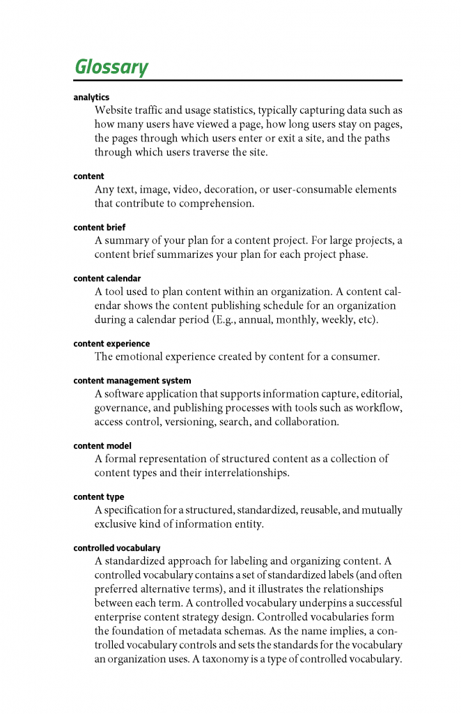 Figure 6: Excerpt from our glossary
